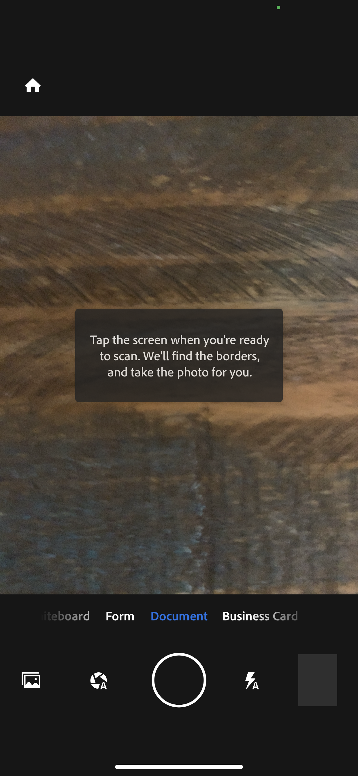 Activated Camera in Document Mode