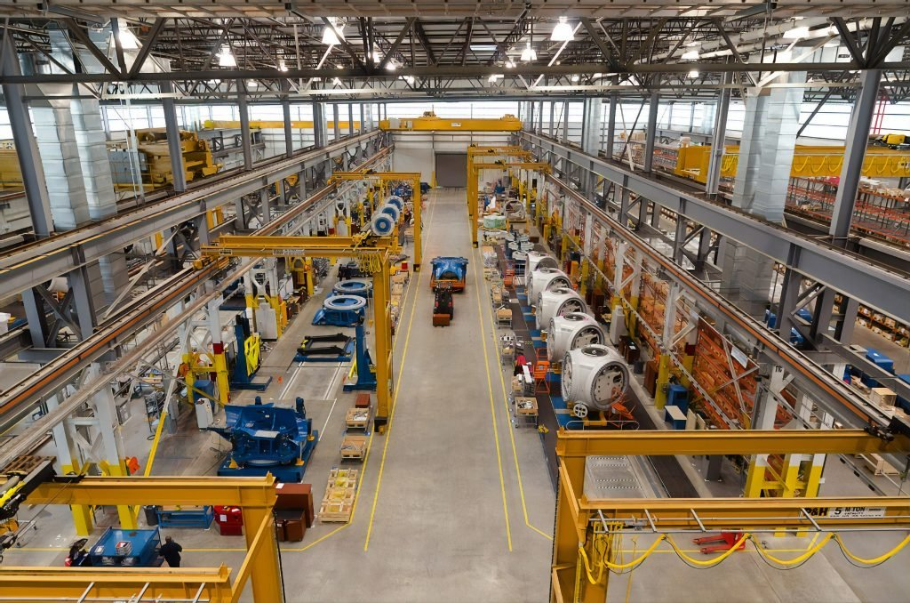 View of industrial warehouse assembly line floor